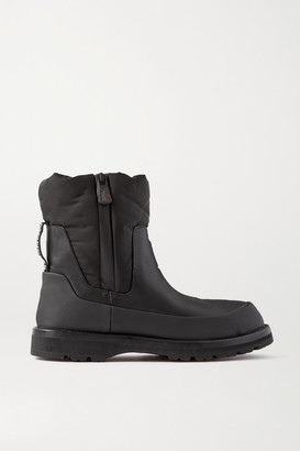 Moncler Brenda Paneled Leather And Shell Ankle Boots - Black