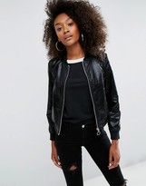 Asos Cracked Leather Look Bomber Jacket