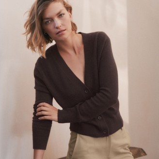 The White Company Cashmere Button-Through Cardigan, Chocolate, Extra Small