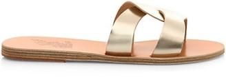 Ancient Greek Sandals Desmos Flat Metallic Leather Sandals