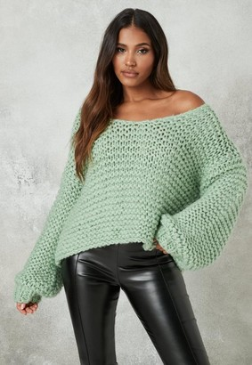 Missguided Mint Hand Knit V Neck Oversized Sweater