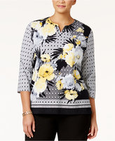 Alfred Dunner Plus Size City Life Collection Floral-Print Top