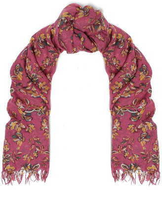Chan Luu Frayed Floral-print Cashmere And Silk-blend Gauze Scarf