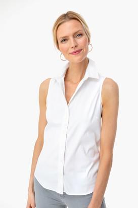 The Shirt By Rochelle Behrens White Sleeveless Essentials Shirt