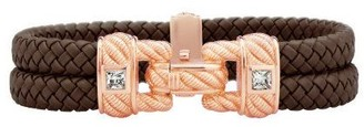 Judith Ripka Rose Gold Clad Braided Double Row Bracelet