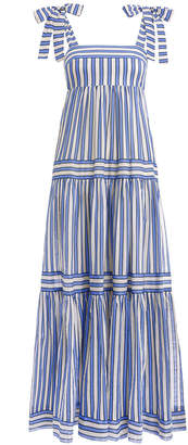 Zimmermann Verity Stripe Tiered Tie Dress