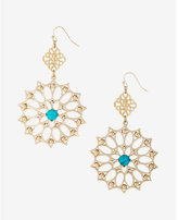Express turquoise stone filigree double drop earrings