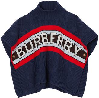Burberry Girl's Olda Cable Knit Poncho w/ Logo Intarsia Stripe, Size M-L