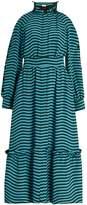 Fendi Ruffled-neck striped cady midi dress