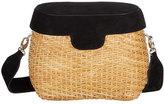 Edie Parker Jane Suede & Straw Basket Crossbody Bag, Black