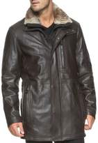 Andrew Marc Middlebury Fur-Trimmed Leather Jacket