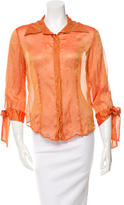 Just Cavalli Pleated Long Sleeve Button-Up