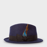 Paul Smith Men's Navy Wool-Felt Trilby With Feather