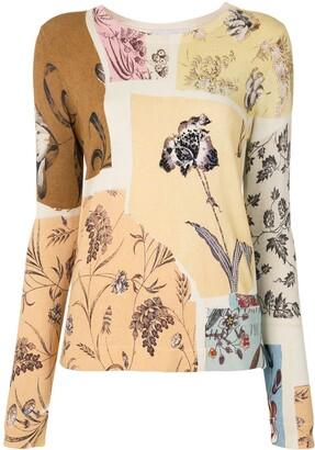 Oscar de la Renta Patchwork Floral Jumper
