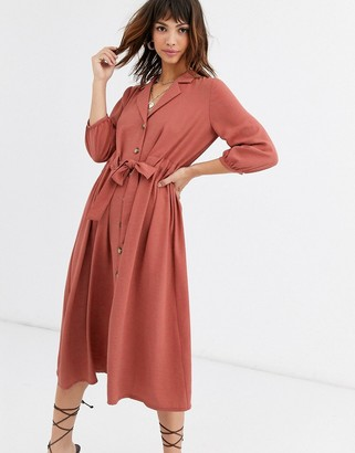 Asos DESIGN button through midi shirt dress with ruched waist