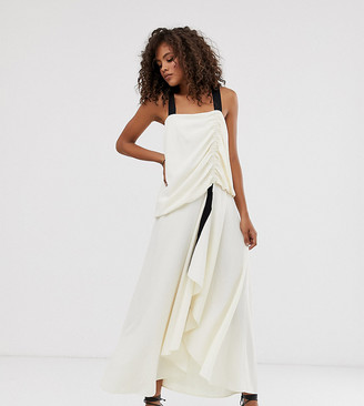 Asos Tall DESIGN Tall textured maxi dress with grosgrain straps-Cream