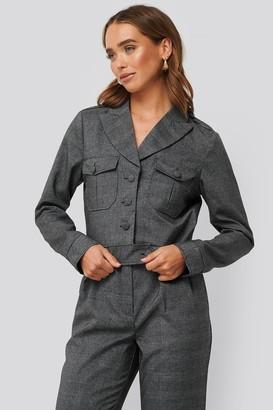 NA-KD Short Plaid Buttoned Jacket