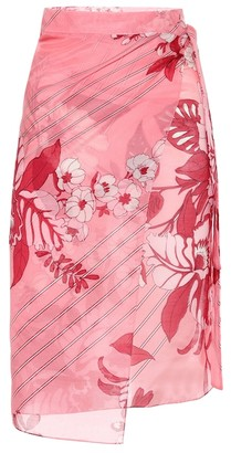 Etro Floral cotton and silk wrap skirt