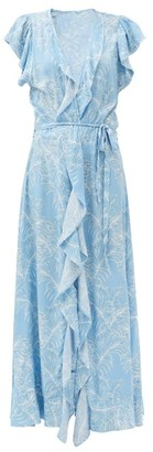 Melissa Odabash Brianna Palm-print Flounced Maxi Wrap Dress - Blue Print