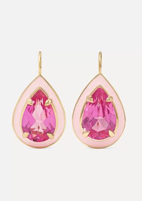 Alison Lou Cocktail 14-karat Gold, Enamel And Sapphire Earrings - one size