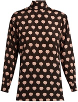 Lanvin Carnation-print long-sleeved silk blouse