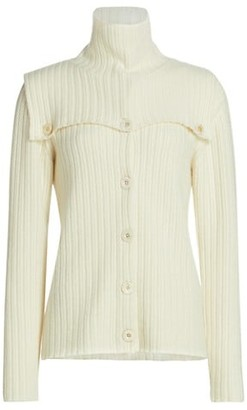 Rosetta Getty Dickie Cashmere Wool Ribbed Cardigan