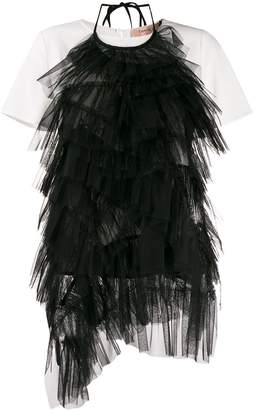 Twin-Set Flounce layered feather T-shirt