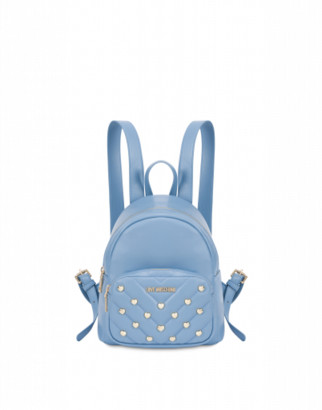 Love Moschino Small Backpack With Heart Studs Woman Blue Size U It - (one Size Us)