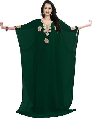 Generic The Fabric Station: Dubai Middle East Bollywood Style Handmade Designer Kaftan Farasha Jalabiya Dress Abaya Casual Dress for Party Event Evening wear Beach - Gold Work |Roayl Blue