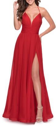 La Femme Strappy Back Chiffon Gown
