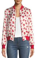 Alice + Olivia X Donald Robertson Lonnie Printed Silk Bomber Jacket