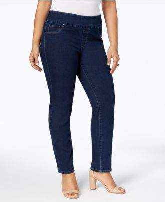 Charter Club Plus Size Cambridge Pull-On Slim-Leg Jeans, Created for Macy's