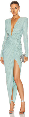 Alexandre Vauthier Microcrystal Plunging Maxi Dress in Mint | FWRD