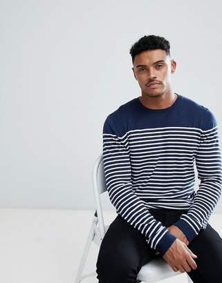 Asos Design DESIGN knitted bretton stripe sweater in navy