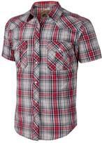 Coevals Club Men's Casual Plaid Snap Front Short Sleeve Shirt (Blue / white , XL)