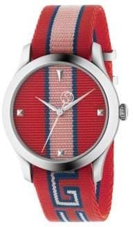 Gucci G-Timeless Stripe Textile-Strap Watch