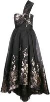 Marchesa one-shoulder Hi_Lo midi tea dress