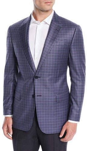 Emporio Armani Men's Small-Check Wool Jacket