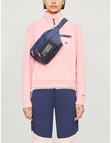 Tommy Jeans Logo-print cotton-blend zip-neck jumper