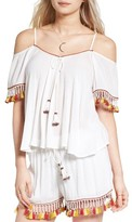 Band of Gypsies Women's Tassel Trim Cold Shoulder Top