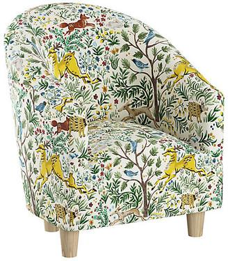 One Kings Lane Ashlee Kids' Chair - Citrus Linen - frame, natural; upholstery, citrus/multi