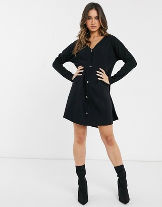 ASOS DESIGN oversized smock dress with horn buttons in black