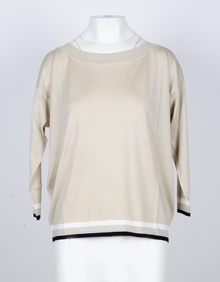 Lamberto Losani Beige Cashmere and Silk Blend Women's Sweater