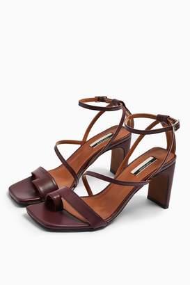Topshop Womens Rio Leather Plum Toe Loop Sandals - Plum
