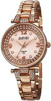 August Steiner Women's AS8137RG Rose Gold Swiss Quartz Watch with Pink Mother of Pearl Dial and Crystal Accented Rose Gold Bracelet