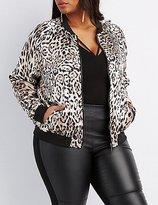 Charlotte Russe Plus Size Leopard Print Bomber Jacket
