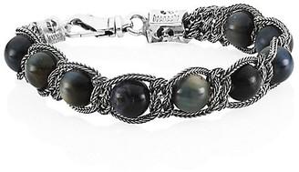 Emanuele Bicocchi Sterling Silver & Turquoise Beaded Bracelet
