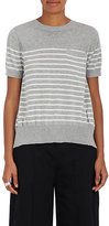 Sacai Women's Pleated-Back Striped Cotton Sweater