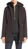 CeCe Lena Flounce Hem Hooded Soft Shell Jacket with Inset Bib