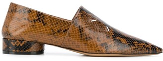 Maison Margiela Snakeskin-Print Pointed Loafers